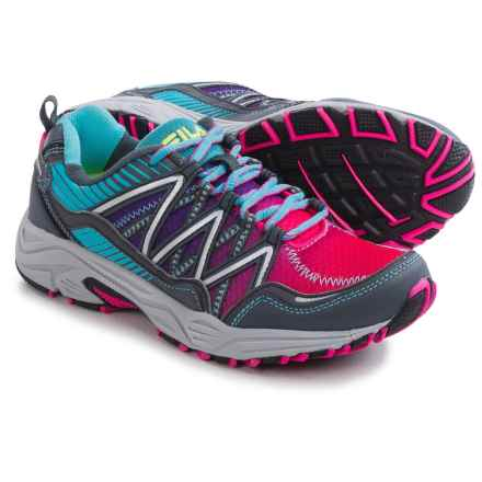 Fila Headway 6 Trail Running Shoes (For Women) in Pink Glow/Blue Fish/Castlerock - Closeouts