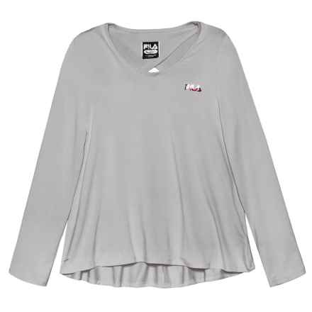 Fila Keyhole Back High-Low Shirt - Long Sleeve (For Girls) in Grey - Closeouts