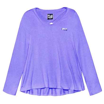 Fila Keyhole Back High-Low Shirt - Long Sleeve (For Girls) in Simply Purple - Closeouts