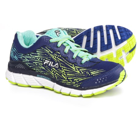 Fila Memory Corta Energized CoolMax® Running Shoes (For Little and Big Girls) in Royal Blue/Aruba Blue/Safety Yellow