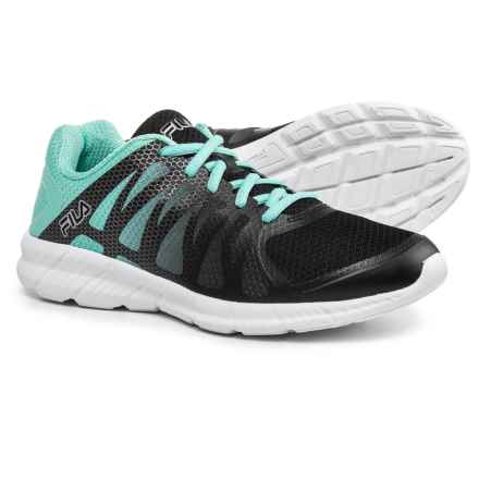 Fila Memory Finition Running Shoes (For Women) in Black/Aruba Blue/Metallic Silver - Closeouts