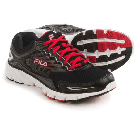 Fila Memory Maranello 4 Running Shoes (For Men) in Black/Red/Metallic Silver - Closeouts