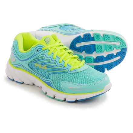Fila Memory Maranello 4 Running Shoes (For Women) in Aruba Blue/Marnia/Safety Yellow - Closeouts