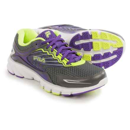 Fila Memory Maranello 4 Running Shoes (For Women) in Pewter/Electric Purple/Safety Yellow - Closeouts
