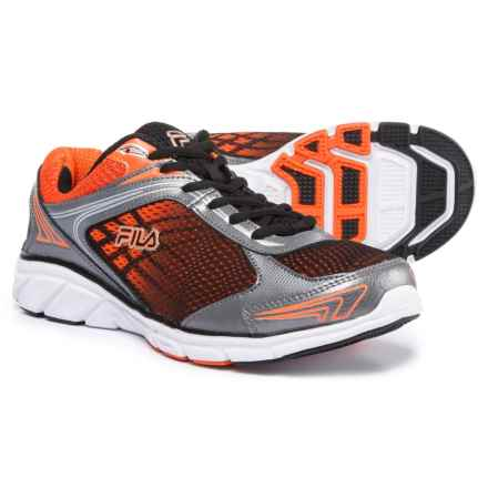 Fila Memory Narrow Escape Running Shoes (For Men) in Black/Dark Silver/Red Orange - Closeouts