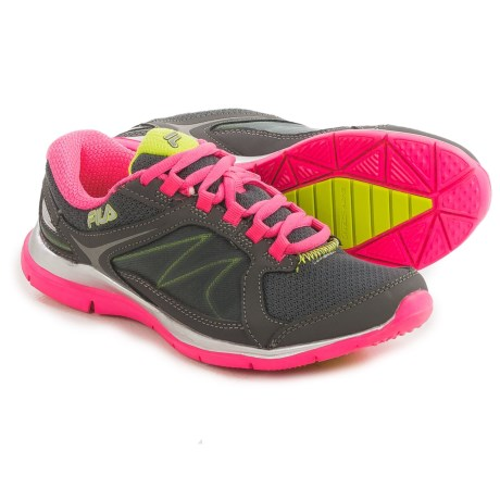 Fila Memory Resilient 2 Cross-Training Shoes (For Women) in Castlerock/Lime Punch/Neon Pink