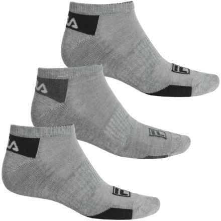 Fila Mini Stripe Socks - 3-Pack, Below the Ankle (For Men) in Light Grey - Overstock