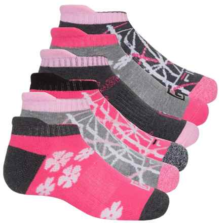 Fila No-Show Socks - 6-Pack, Below the Ankle (For Big Girls) in Gray Heather/Fuschia/Flowers - Closeouts