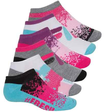 Fila No-Show Socks - 6-Pack, Below the Ankle (For Big Girls) in Grey Heather/Fuschia/Blue - Closeouts