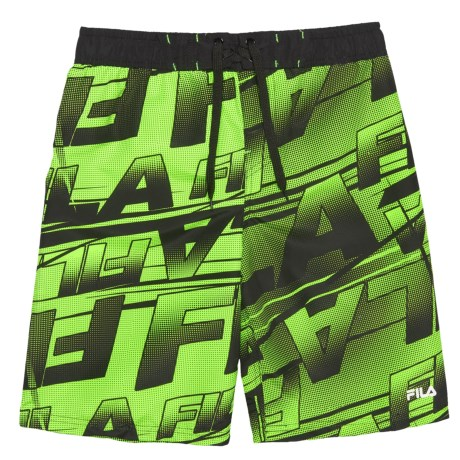 Fila Point Logo Boardshorts (For Boys) in Black/Lime