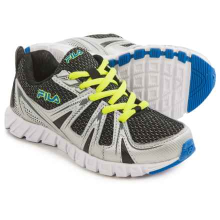 Fila Poseidon Running Shoes (For Little and Big Kids) in Black/Metallic Silver/Prince Blue - Closeouts