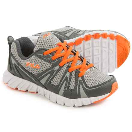 Fila Poseidon Running Shoes (For Little and Big Kids) in Iris/Castlerock/Vibrant Orange - Closeouts