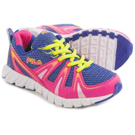 Fila Poseidon Running Shoes (For Little and Big Kids) in Royal Blue/Pink Glo/Safety Yellow - Closeouts