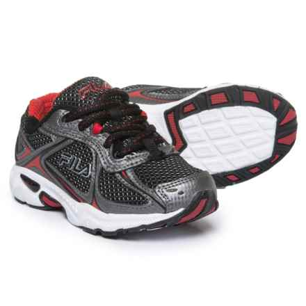 Fila Quadrix Running Shoes (For Boys) in Black/Silver/Red - Closeouts
