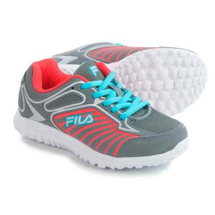 Fila Rocket Fueled Sneakers (For Little and Big Kids) in Grey/Flying Coral/Metallic Silver - Closeouts