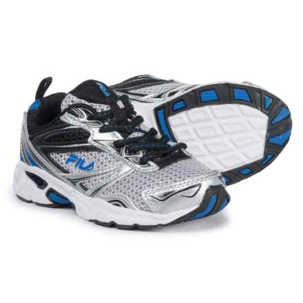 Fila Royalty Running Shoes (For Boys) in Metallic Silver/Black/Prince Blue - Closeouts