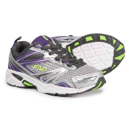 Fila Royalty Running Shoes (For Girls) in Metallic Silver/Electric Purple/Green - Closeouts