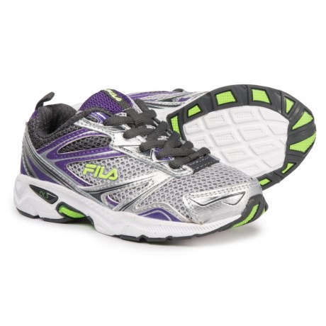 Fila Royalty Running Shoes (For Girls) in Metallic Silver/Electric Purple/Green