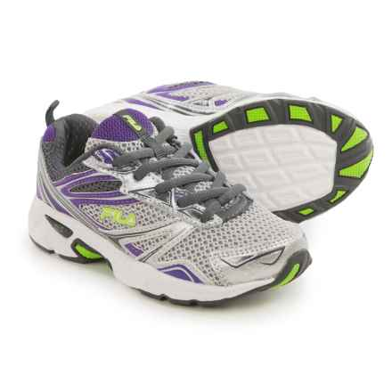 Fila Royalty Running Shoes (For Little and Big Kids) in Metallic Silver/Electric Purple/Green - Closeouts