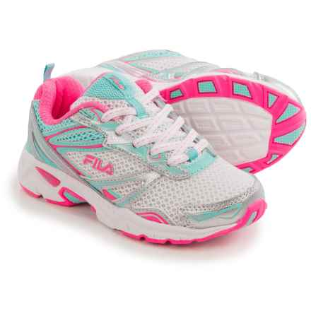 Fila Royalty Running Shoes (For Little and Big Kids) in White/Aruba Blue/Knockout Pink - Closeouts