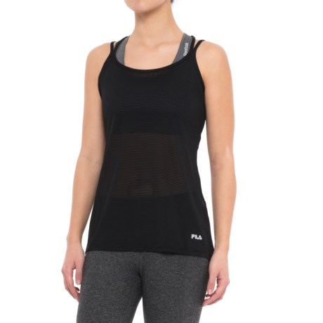 Fila Shine Strappy Tank Top - Semi Sheer (For Women) in Black Black