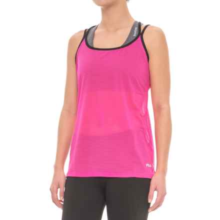 Fila Shine Strappy Tank Top - Semi Sheer (For Women) in Pinkydaze Black - Closeouts