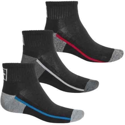 Fila Side Stripe Socks - 3-Pack, Quarter Crew (For Men) in Black - Overstock