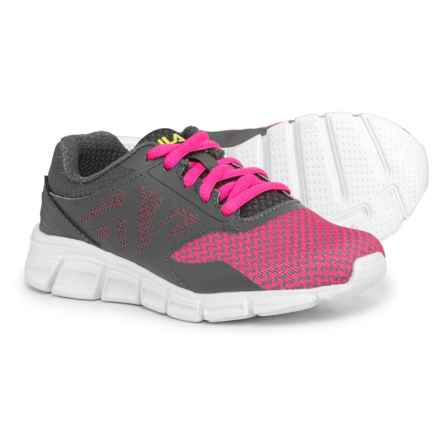 Fila Skyspan Running Shoes (For Girls) in Pink Glo/Castlerock/Safety Yellow - Closeouts