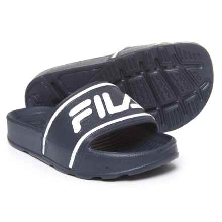 Fila Sleek Slide Sandals (For Boys) in Navy/White/Navy - Closeouts