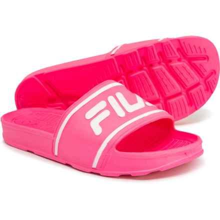 Fila Sleek Slide Sandals (For Girls) in Knockout Pink/Knockout Pink/White