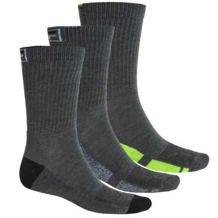 Fila Sole Block Socks - 3-Pack, Crew (For Men) in Charcoal - Overstock