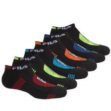 Fila Sport No-Show Socks - 6-Pack, Below the Ankle (For Little and Big Boys) in Black - Closeouts