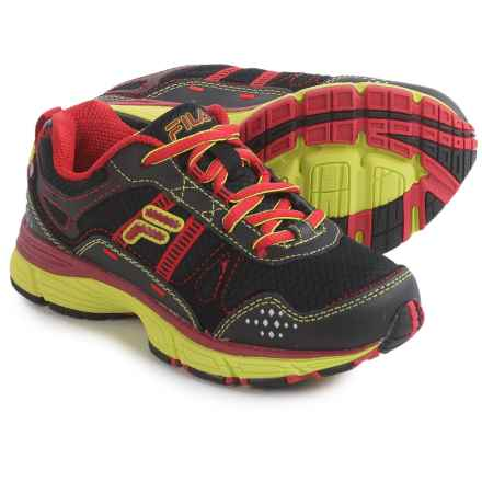 Fila Statique Trail Shoes (For Little and Big Kids) in Black/Fila Red/Safety Yellow - Closeouts