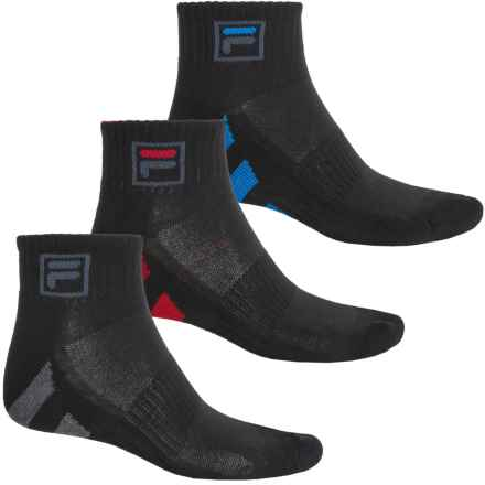 Fila Striped Sole Socks - 3-Pack, Quarter Crew (For Men) in Black - Overstock