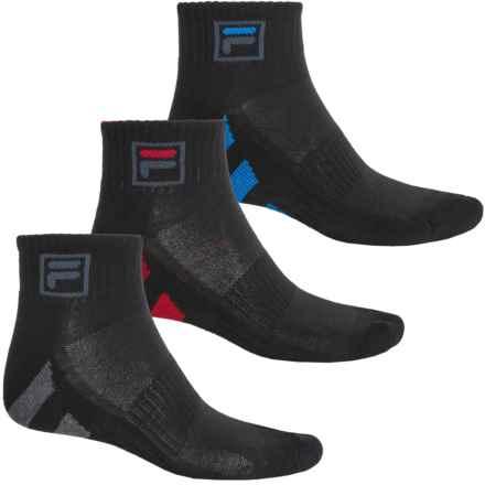 Fila Striped Sole Socks - 3-Pack, Quarter Crew (For Men) in Black - Overstock