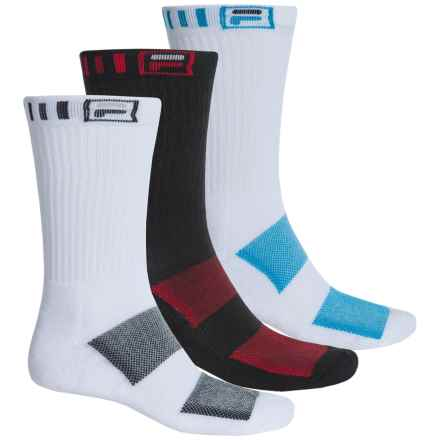 Fila Striped-Welt Socks - 3-Pack, Crew (For Men) in White And Black - Overstock
