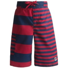 Fila Swim Trunks - UPF 50+ (For Boys) in Medieval Blue/Red Stripes - Closeouts