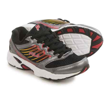 Fila Tempo 2 Running Shoes (For Little and Big Kids) in Black/Dark Silver/Fila Red - Closeouts