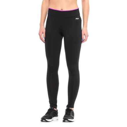 Fila Tipped Waist Leggings (For Women) in Black Prpctflr - Closeouts