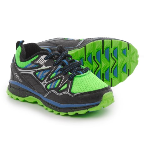 Fila TKO TR 5.0 Trail Running Shoes (For Boys) in Green Gecko/Black/Prince Blue