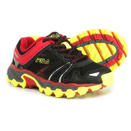 Fila TKO TR Trail Running Shoes (For Boys) in Black/Fila Red/Safety Yellow - Closeouts