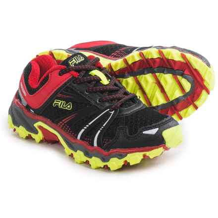Fila TKO TR Trail Running Shoes (For Little and Big Kids) in Black/Fila Red/Safety Yellow - Closeouts