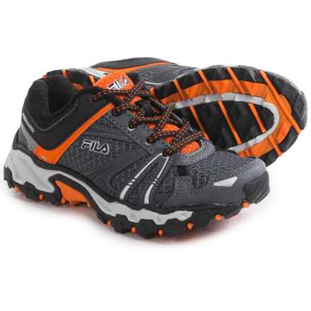 Fila TKO TR Trail Running Shoes (For Little and Big Kids) in Castlerock/Vibrant Orange/Black - Closeouts