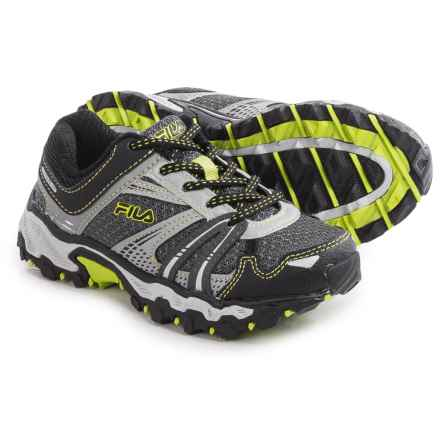 Fila TKO TR Trail Running Shoes (For Little and Big Kids) in Pewter/Black/Lemon Punch - Closeouts