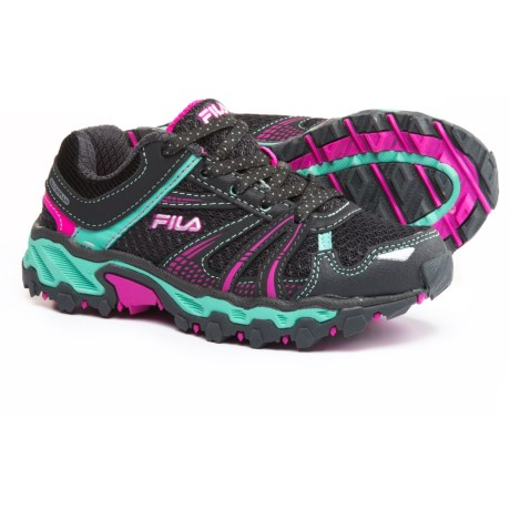 Fila TKO Trail Running Shoes (For Little and Big Girls) in Dark Shadow/Cockatoo/Pink Glo