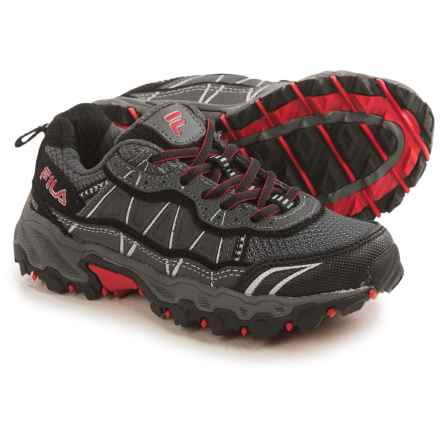 Fila Tractile 2 Trail Shoes (For Little and Big Kids) in Castlerock/Black/Fila Red - Closeouts