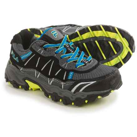 Fila Tractile 2 Trail Shoes (For Little and Big Kids) in Castlerock/Eble/Saftey Yellow - Closeouts