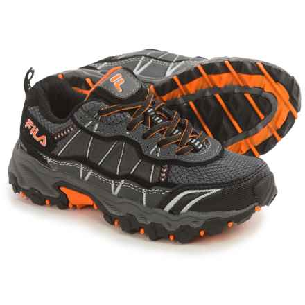 Fila Tractile 2 Trail Shoes (For Little and Big Kids) in Pewter/Black/Vibrant Orange - Closeouts