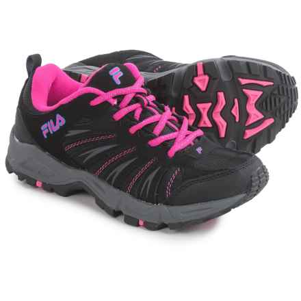 Fila Trailbuster 2 Trail Running Shoes - Leather (For Women) in Black/Atomic Blue/Pink Glow - Closeouts