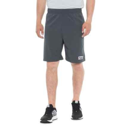 Fila Woven Solid Shorts (For Men) in Slate Gray/Crimson Red/White - Closeouts